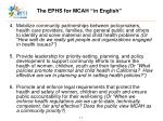 the ephs for mcah in english17