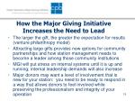 how the major giving initiative increases the need to lead