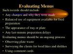 evaluating menus