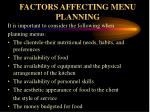 factors affecting menu planning