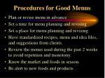 procedures for good menus