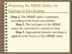 preparing the mime entity for signing or enveloping