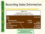 recording sales information