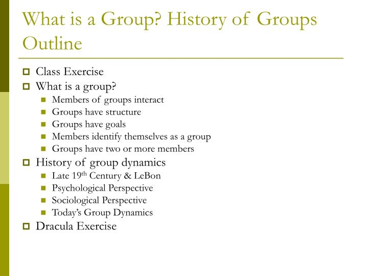 What is a group history of groups outline