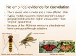 no empirical evidence for coevolution