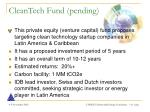 cleantech fund pending