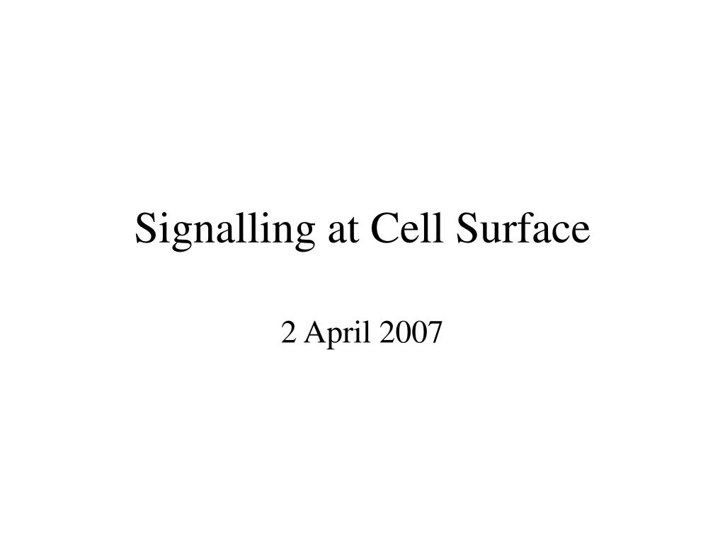 signalling at cell surface l.