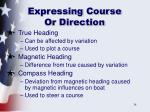 expressing course or direction