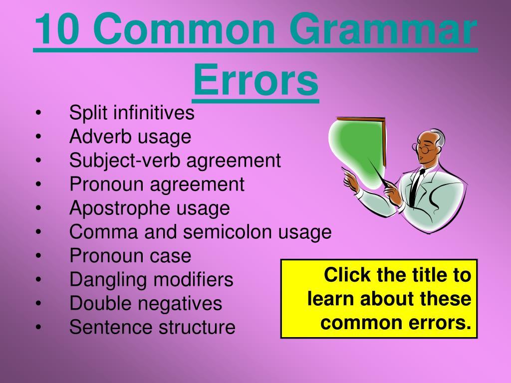 10 Common Grammar Errors