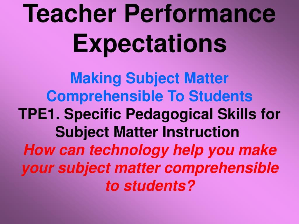 Teacher Performance Expectations