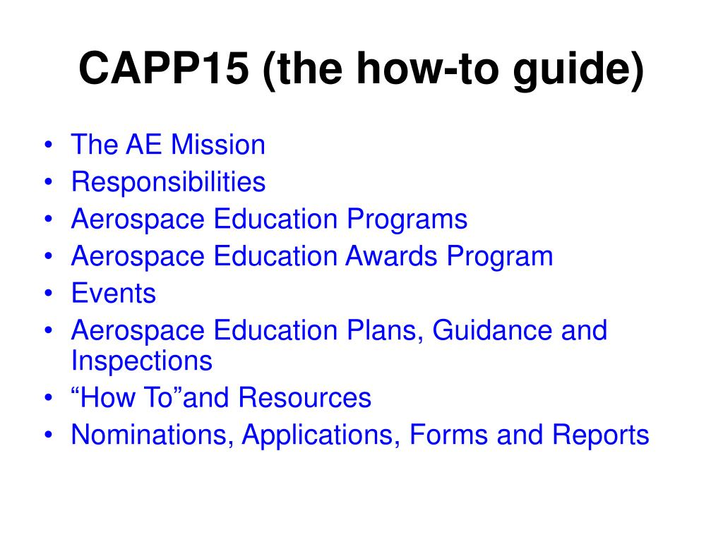CAPP15(the how-to guide)