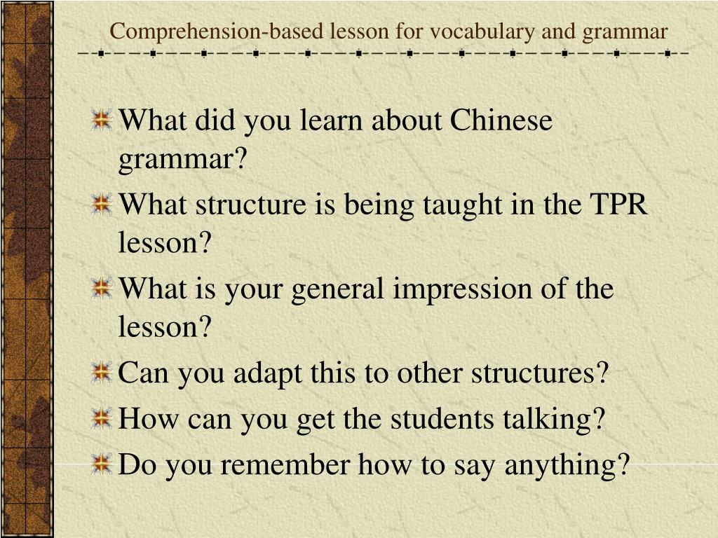 Comprehension-based lesson for vocabulary and grammar