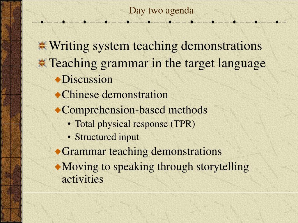 Day two agenda