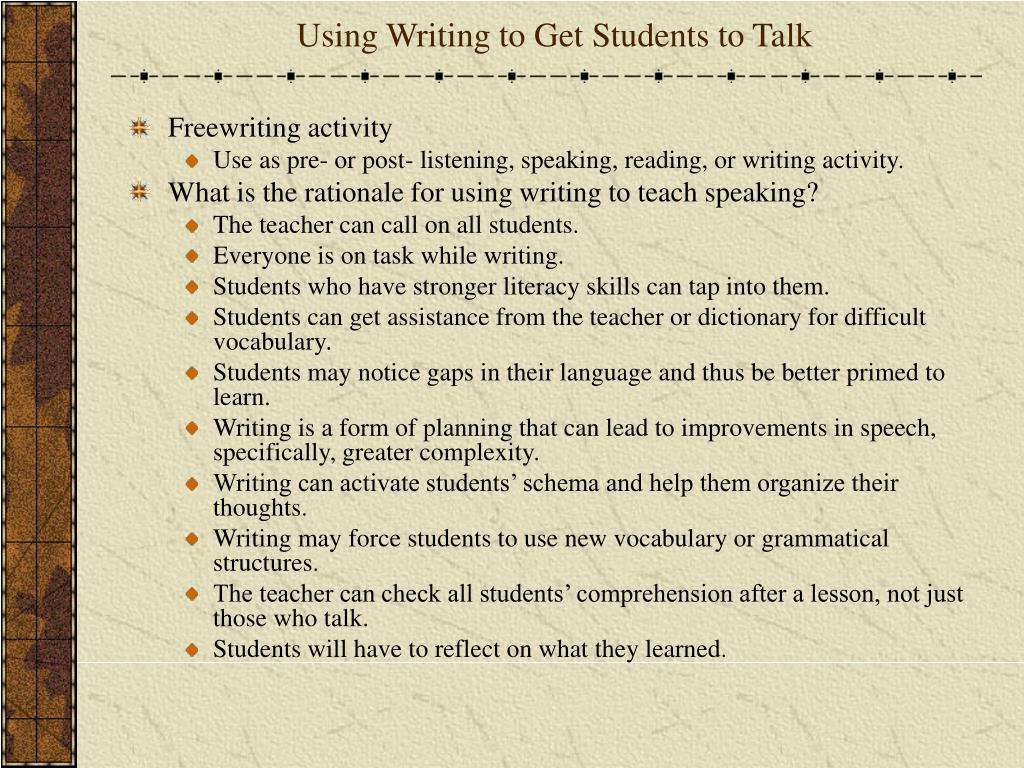 Using Writing to Get Students to Talk