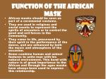 function of the african mask