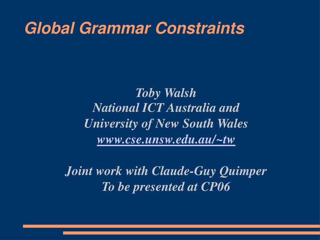 global grammar constraints l.