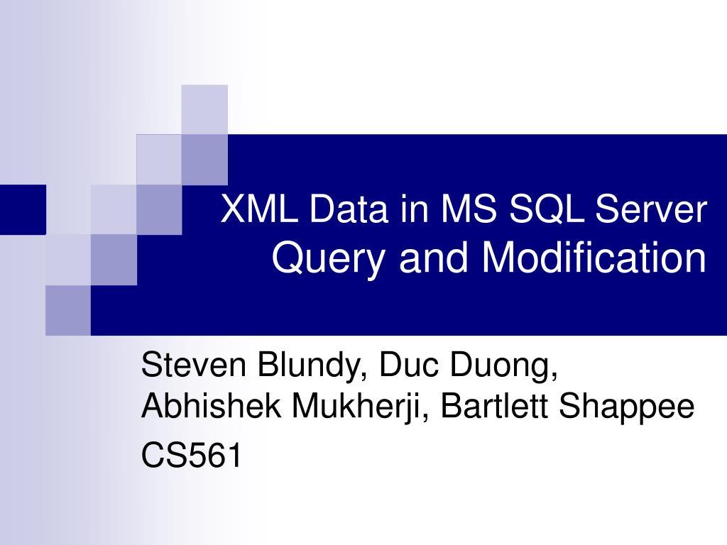 xml data in ms sql server query and modification l.