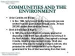 communities and the environment15