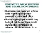 employee drug testing and e mail monitoring