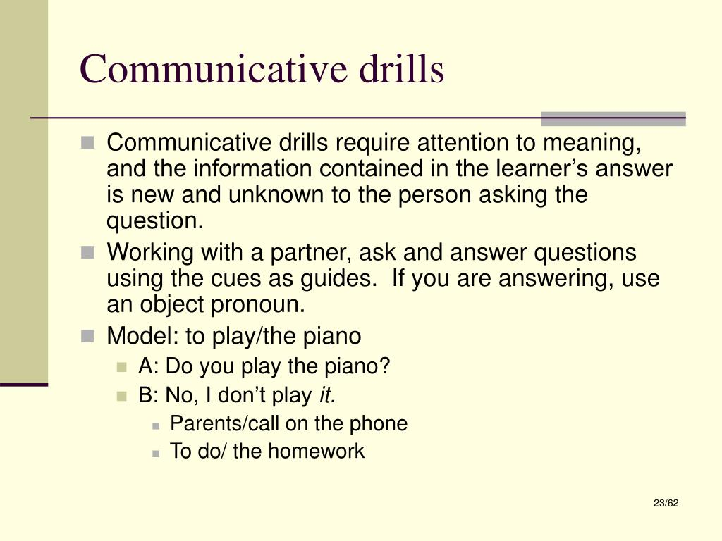 Communicative drills