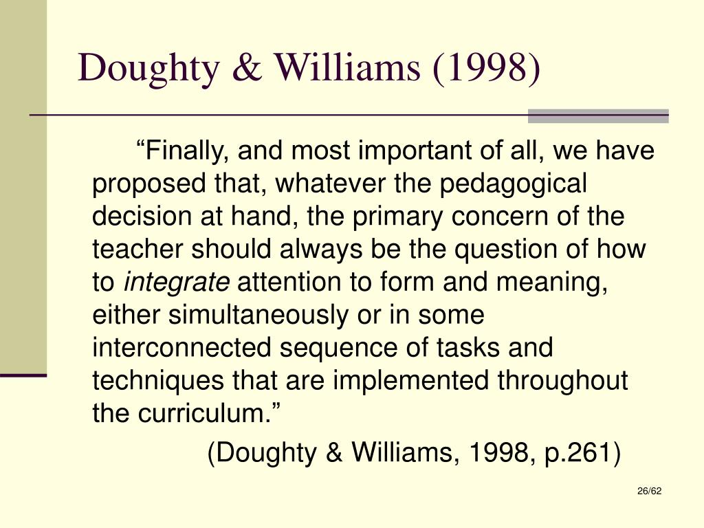 Doughty & Williams (1998)