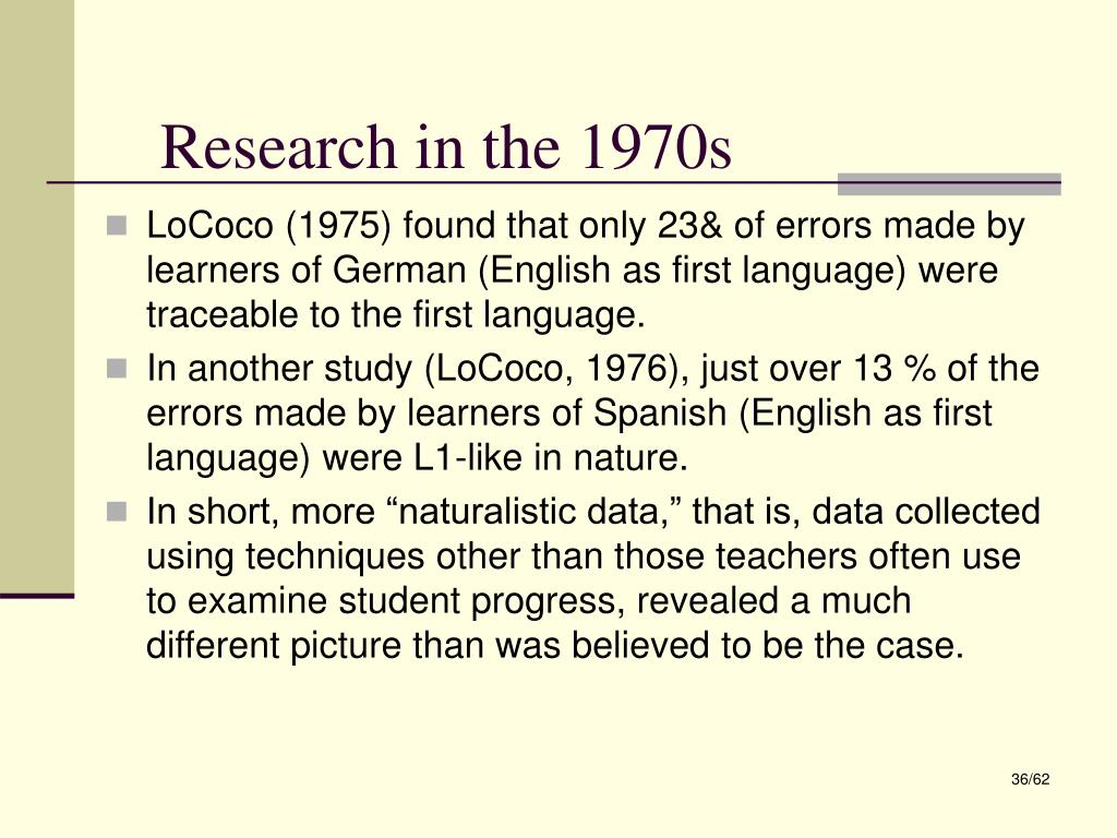 Research in the 1970s