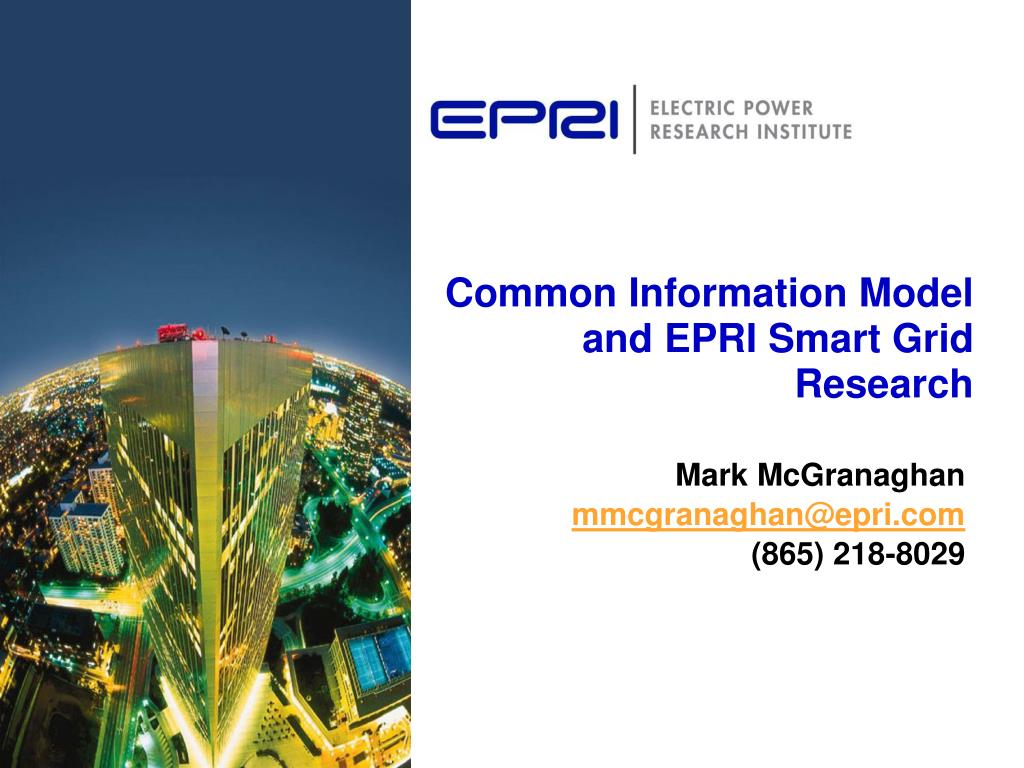 common information model and epri smart grid research l.