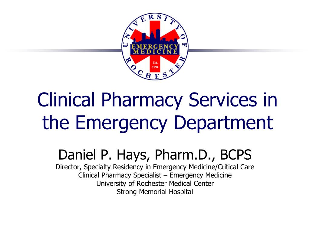 clinical pharmacy services in the emergency department l.
