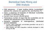biomedical data mining and dna analysis