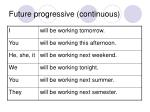 future progressive continuous