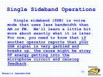 single sideband operations