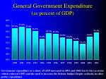 general government expenditure as percent of gdp