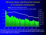 housing starts and fixed investment in residential construction