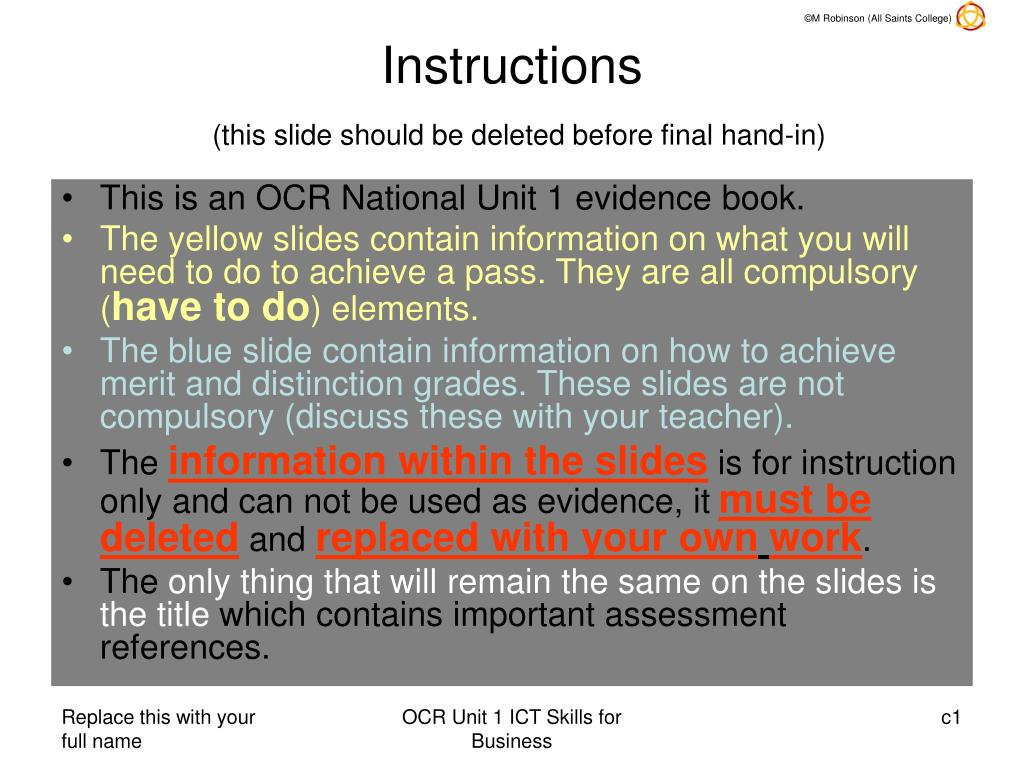 instructions this slide should be deleted before final hand in l.