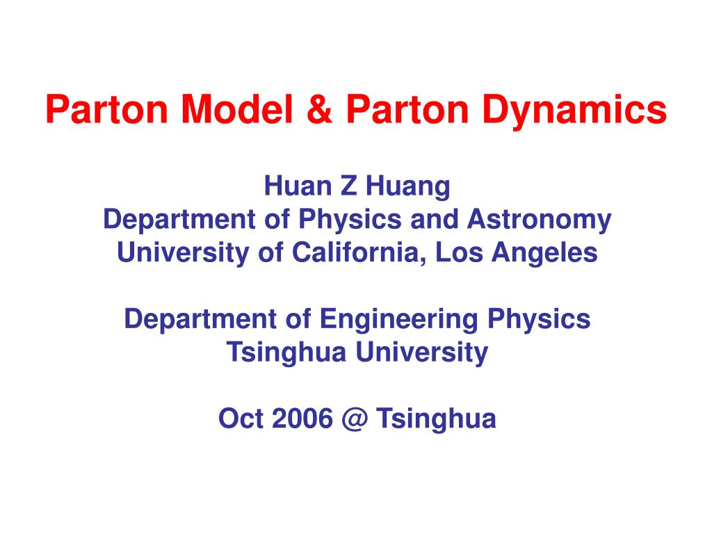parton model parton dynamics l.