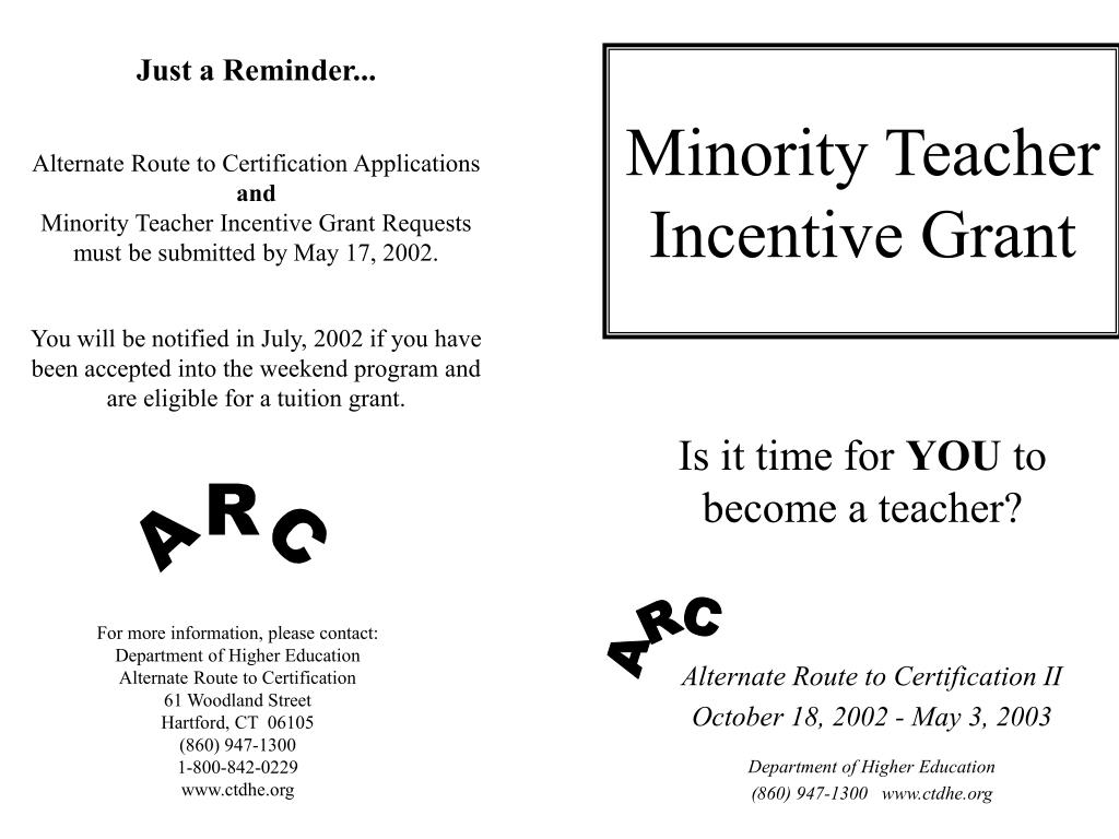 minority teacher incentive grant l.