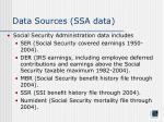 data sources ssa data