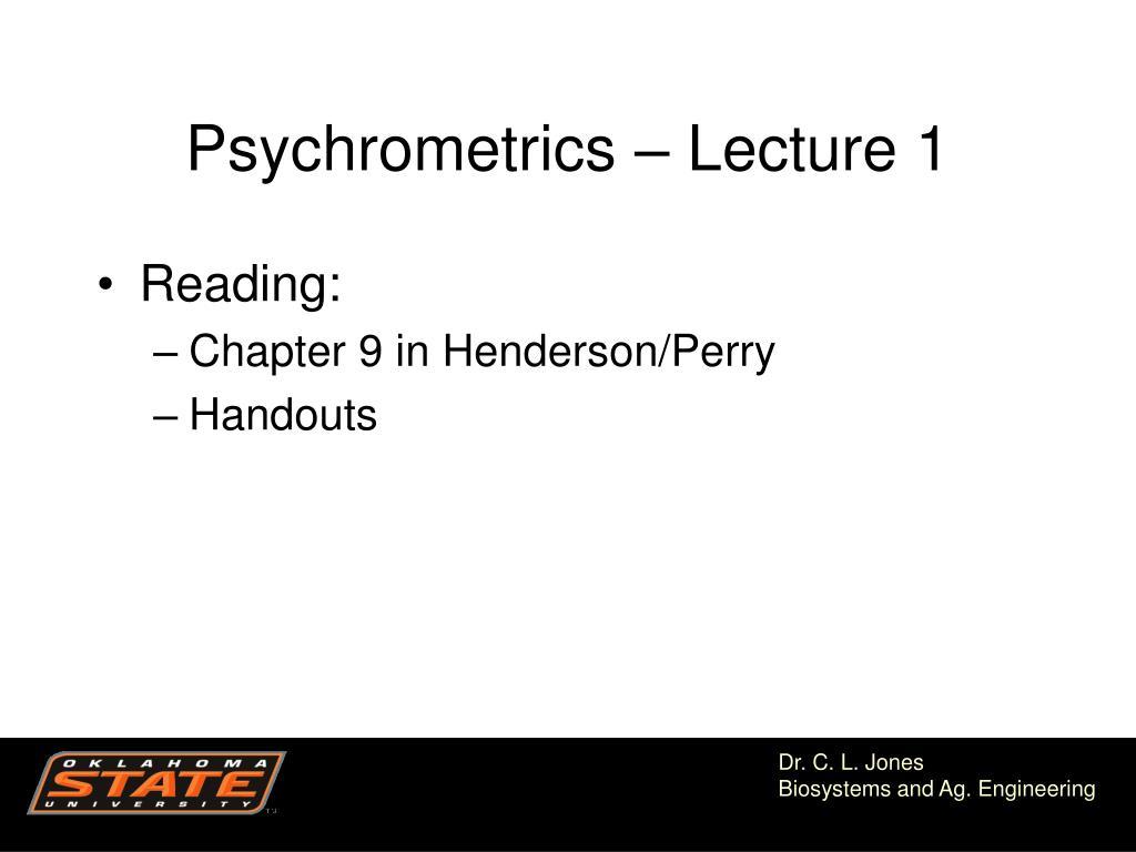 psychrometrics lecture 1 l.