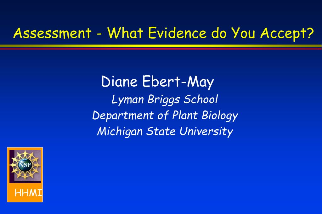 assessment what evidence do you accept l.