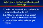 what are 3 central questions about learning
