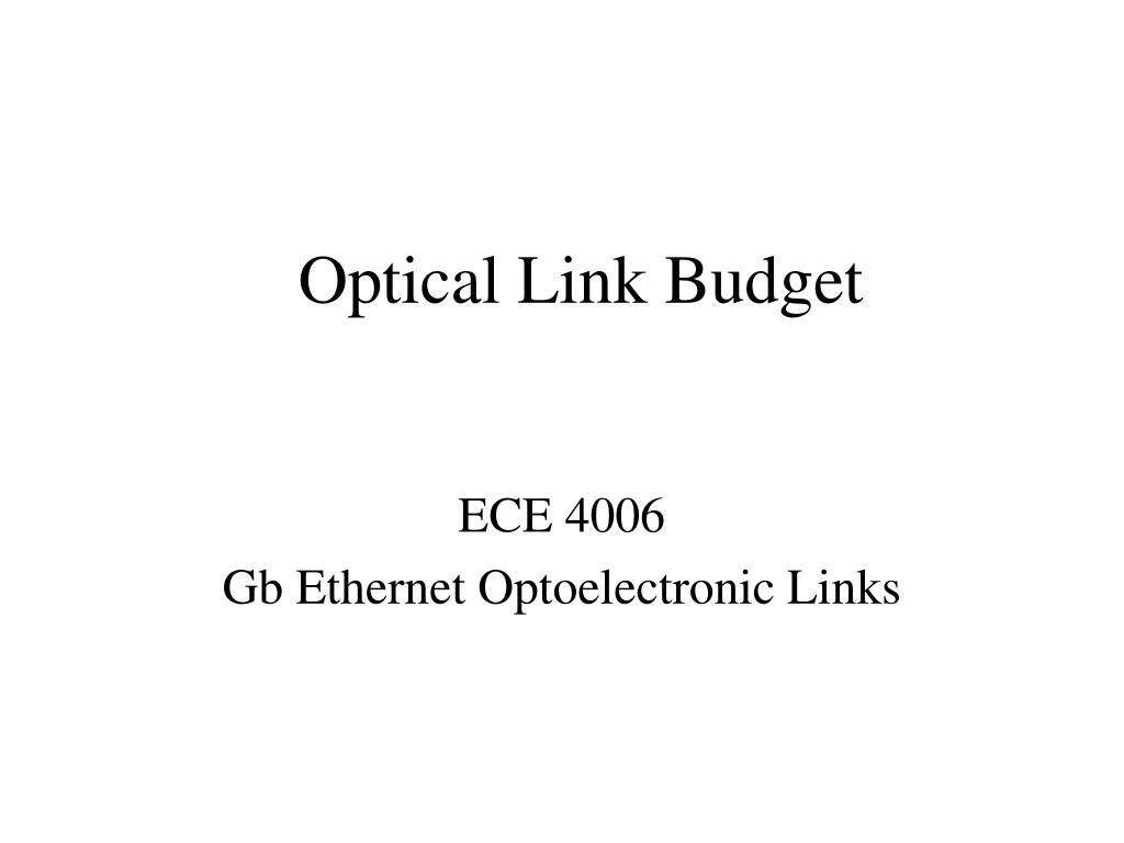optical link budget l.