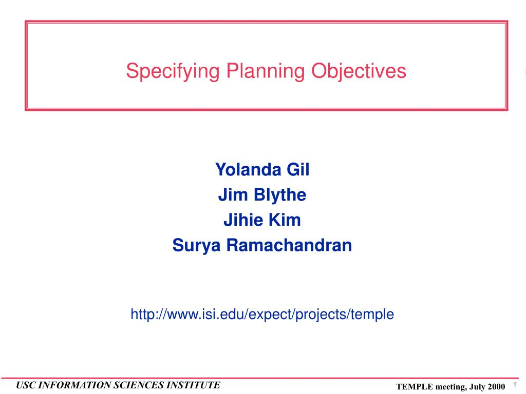 specifying planning objectives l.