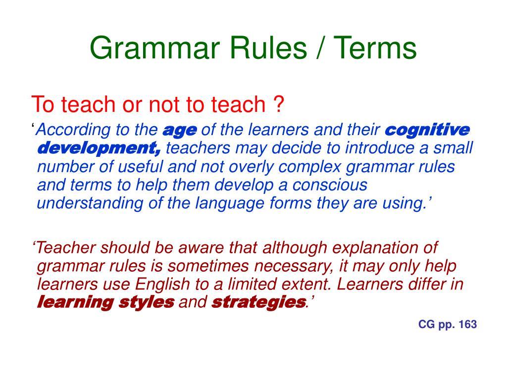 Grammar Rules / Terms