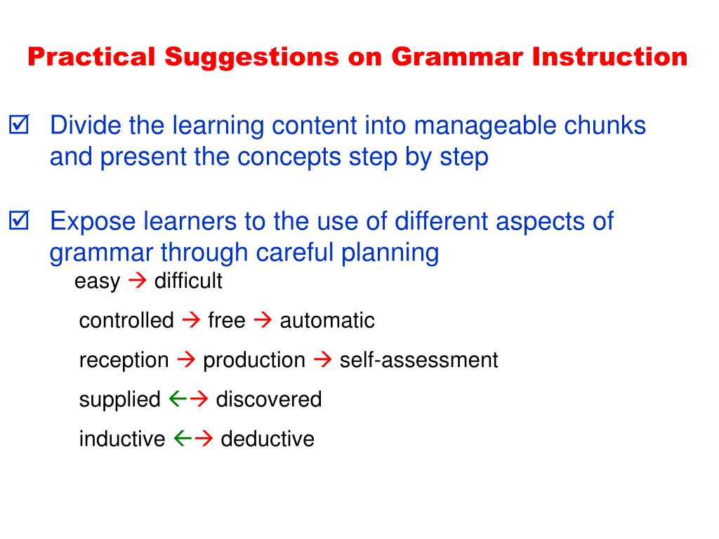 Practical Suggestions on Grammar Instruction