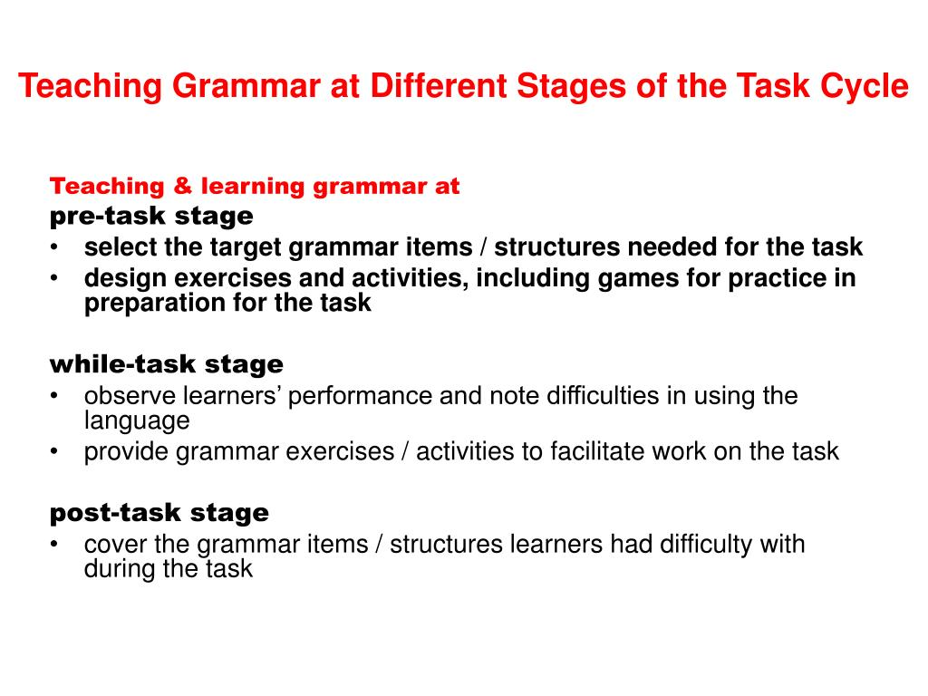 Teaching Grammar at Different Stages of the Task Cycle
