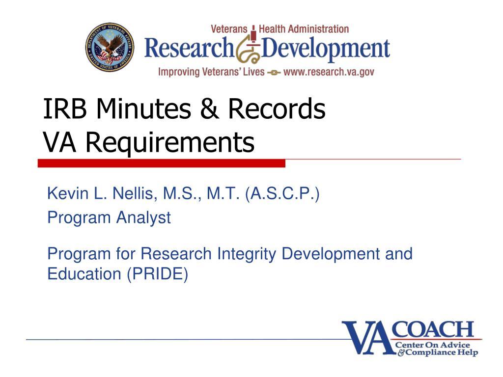 irb minutes records va requirements l.