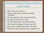 writing effective memorandums and e mails