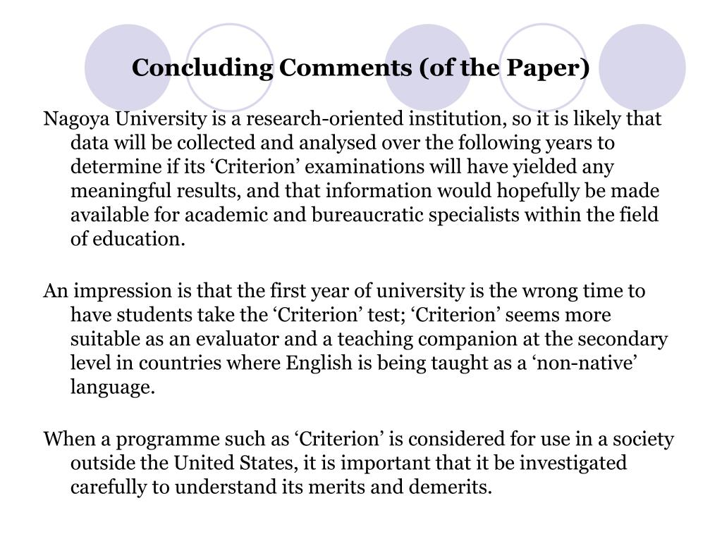 Concluding Comments (of the Paper)