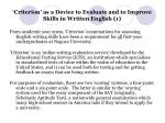 criterion as a device to evaluate and to improve skills in written english 1