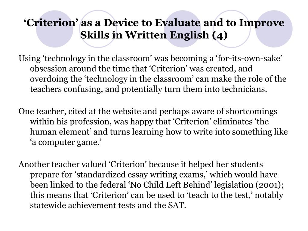 'Criterion' as a Device to Evaluate and to Improve Skills in Written English (4)